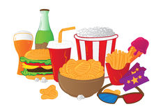 Vector illustration of cinema symbols isolated on white background. Vector illustration of cinema symbols - popcorn bucket, ticket, 3d glasses, cup of cola, ice Stock Images