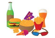 Vector illustration of cinema symbols isolated on white background. Vector illustration of cinema symbols - ticket, 3d glasses, ice cream, bottle, glass of beer Stock Photo