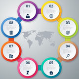 Vector illustration of a circle of eight infographics Royalty Free Stock Photos