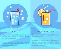 Set of Ice Water and Refreshing Juice Posters stock illustration