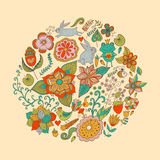 Vector illustration of circle made of flowers and birds. Round s Stock Photography