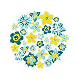 Vector illustration circle with tropical flowers. Vector illustration circle with tropical color flowers Stock Photos
