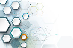 Vector illustration circuit board and 3d paper hexagons Stock Photography