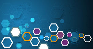 Vector illustration circuit board and 3d paper hexagons background. Hi-tech digital technology and engineering, digital telecom technology concept. Vector Stock Photography