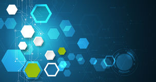 Vector illustration circuit board and 3d paper hexagons background. Hi-tech digital technology and engineering, digital telecom technology concept. Vector royalty free illustration