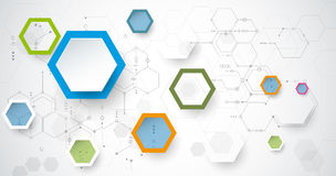 Vector illustration circuit board and 3d paper hexagons background. Hi-tech digital technology and engineering, digital telecom technology concept. Vector Stock Photos