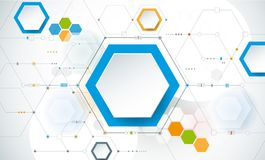 Vector illustration circuit board and 3d paper hexagons background. Hi-tech digital technology and engineering, digital telecom technology concept. Vector Stock Photo