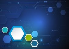 Vector illustration circuit board and 3d paper hexagons background. Royalty Free Stock Photo