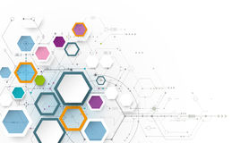 Vector illustration circuit board and 3d paper hexagons Stock Image