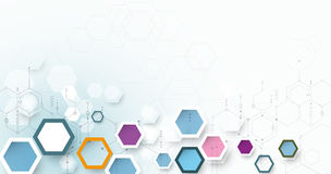 Vector illustration circuit board and 3d paper hexagons Stock Images
