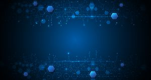 Vector illustration circuit board and hexagons background. Royalty Free Stock Photo