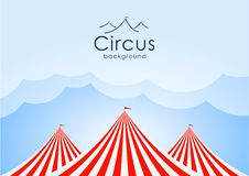 Circus background with blue sky, clouds and tents. Vector illustration: Circus background with blue sky, clouds and tents Stock Photo