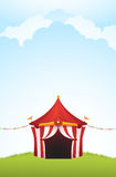 Circus Tent. Vector illustration of a circus tent with cloud background Stock Photography