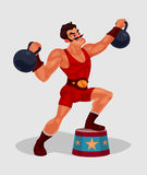 Vector illustration of a circus weightlifter. Lifts weights Stock Image
