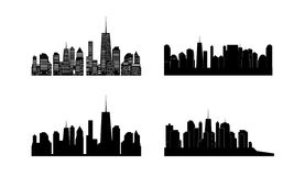 Vector illustration of cities silhouette. Set. EPS Royalty Free Stock Images