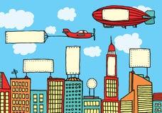 Advertising city / Visual contamination. Vector illustration of city advertisemen / Visual contamination Stock Image