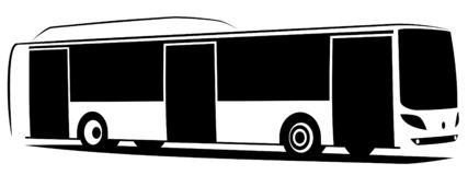 Vector illustration of a city bus with three doors stock images