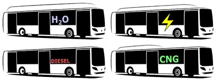 Vector illustration of a city buses using alternative fuels royalty free stock photos