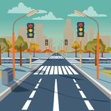 Vector city crossroad with traffic lights. Vector illustration of city crossroad with traffic lights, road markings, sidewalk for pedestrians, without any cars Royalty Free Stock Photography