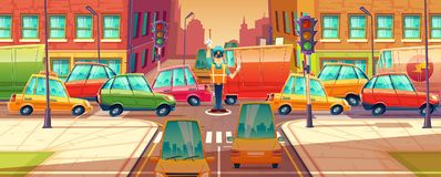 Vector illustration of city crossroads, rush hour, traffic jam, transport moving, vehicles. Machines, automobiles. Vector illustration of city crossroads Royalty Free Stock Photo