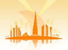 Vector illustration of the city of Dubai Royalty Free Stock Images