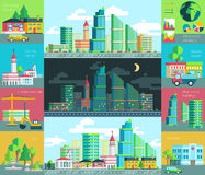 Vector illustration of city life, urban landscape with the environment Stock Image