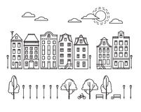 Vector illustration - City in linear style with trees and clouds Stock Photo
