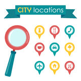 Vector illustration of a city locations with magnifying glass Royalty Free Stock Photo