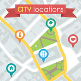 Vector illustration of a city map with locations Royalty Free Stock Photography