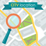 Vector illustration of a city map with locations Royalty Free Stock Image