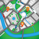 Vector illustration. City map top view with roads, colourful cars and orange navigation pin. Can used for web banners Royalty Free Stock Image