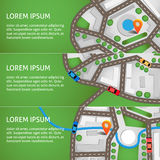 Vector illustration. City map top view with roads, colourful cars and orange navigation pin. Can used for web banners Stock Images