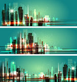 Vector illustration of city at night. Cityscape lights. Royalty Free Stock Photos