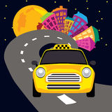 Vector illustration of city nightlife and a taxi Royalty Free Stock Photo