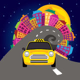 Vector illustration of city nightlife and a taxi Stock Photography
