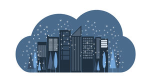 Vector illustration of city outline. Illustration of city scape for prints, cards, web design Stock Photo