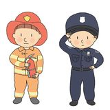 Vector illustration of city professions, firefighter & policeman. What I want to be when grow up. Children occupation costume. Childhood development, education Royalty Free Stock Photo