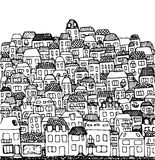 Vector illustration: city, real estate and houses. Vector hand-drawn illustration for your design: city, real estate and houses Stock Image
