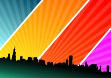 Vector illustration  with city on shine background Royalty Free Stock Image