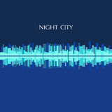 Vector illustration of city skyline panorama at night Stock Photo