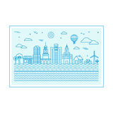 Vector illustration with city skyline Royalty Free Stock Photos