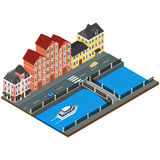Vector illustration. City street. With buildings of old architecture, river embankment, bridge, road, cars. isometric, 3D, infographics vector illustration