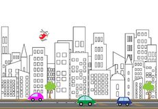 Vector illustration of a city street. With colorful icons of cars vector illustration
