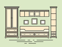 A vector illustration of classic furniture. Pieces of furniture. Pale wood furniture royalty free illustration