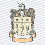 Vector illustration of classic heraldic design with coat of arms and knight helmet Royalty Free Stock Image