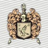 Vector illustration of classic heraldic design with coat of arms and knight helmet set2 Royalty Free Stock Photos