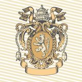 Vector illustration of classic heraldic design with coat of arms and knight helmet Stock Image