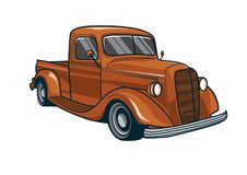 Vector illustration of a classic red truck car. Vector design element royalty free illustration