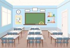 Vector illustration of classroom in school. Empty Interior of class with board and desks for children in flat cartoon. Style royalty free illustration