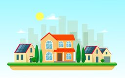 Vector illustration of clean electric energy from renewable sources of sun  on white backgound. Power plant buildings with solar p. Vector illustration of clean stock illustration